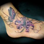 Butterfly-Flower-Ankle-Tattoos