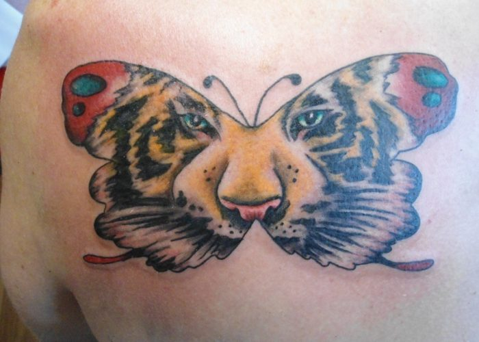 Butterfly-Tattoos-With-Tiger-Face