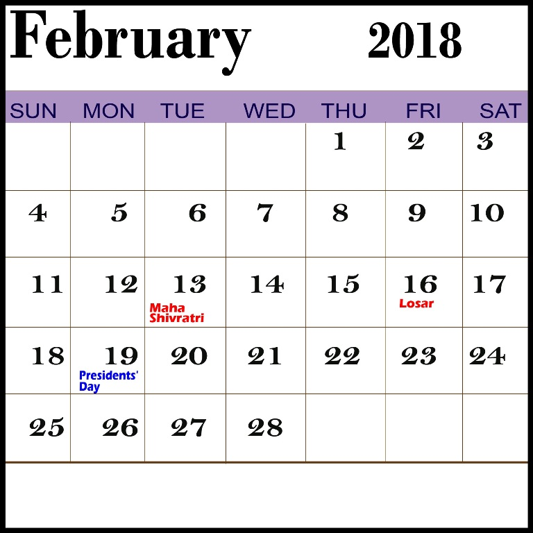 february calendar 2018 with holidays