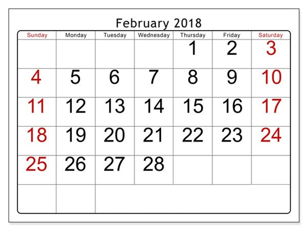 graphic about Printable Calendar Feb. known as Printable Calendar February 2018 Free of charge Visuals upon GreePX
