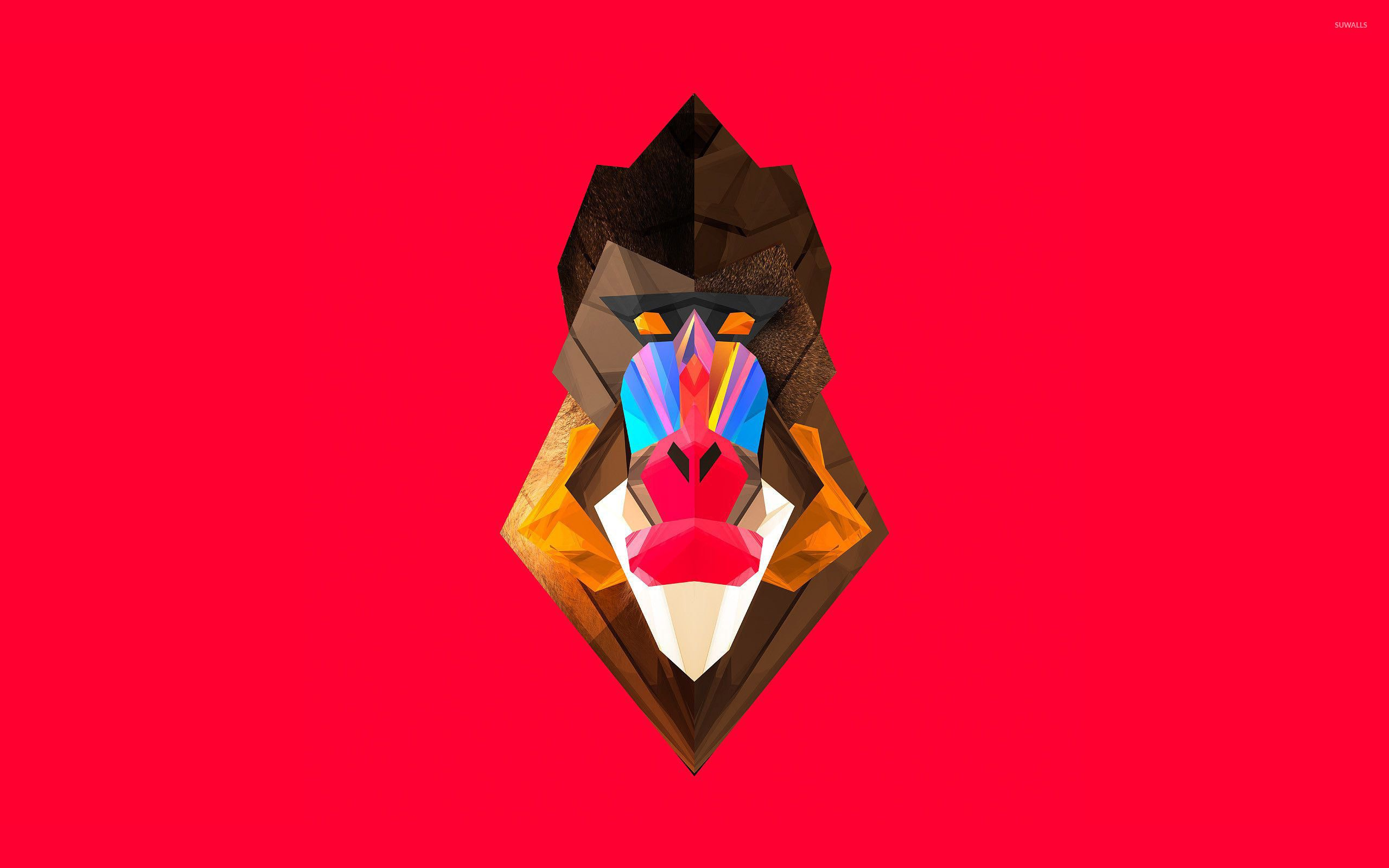 Polygon baboon wallpaper - Vector wallpapers - #28703