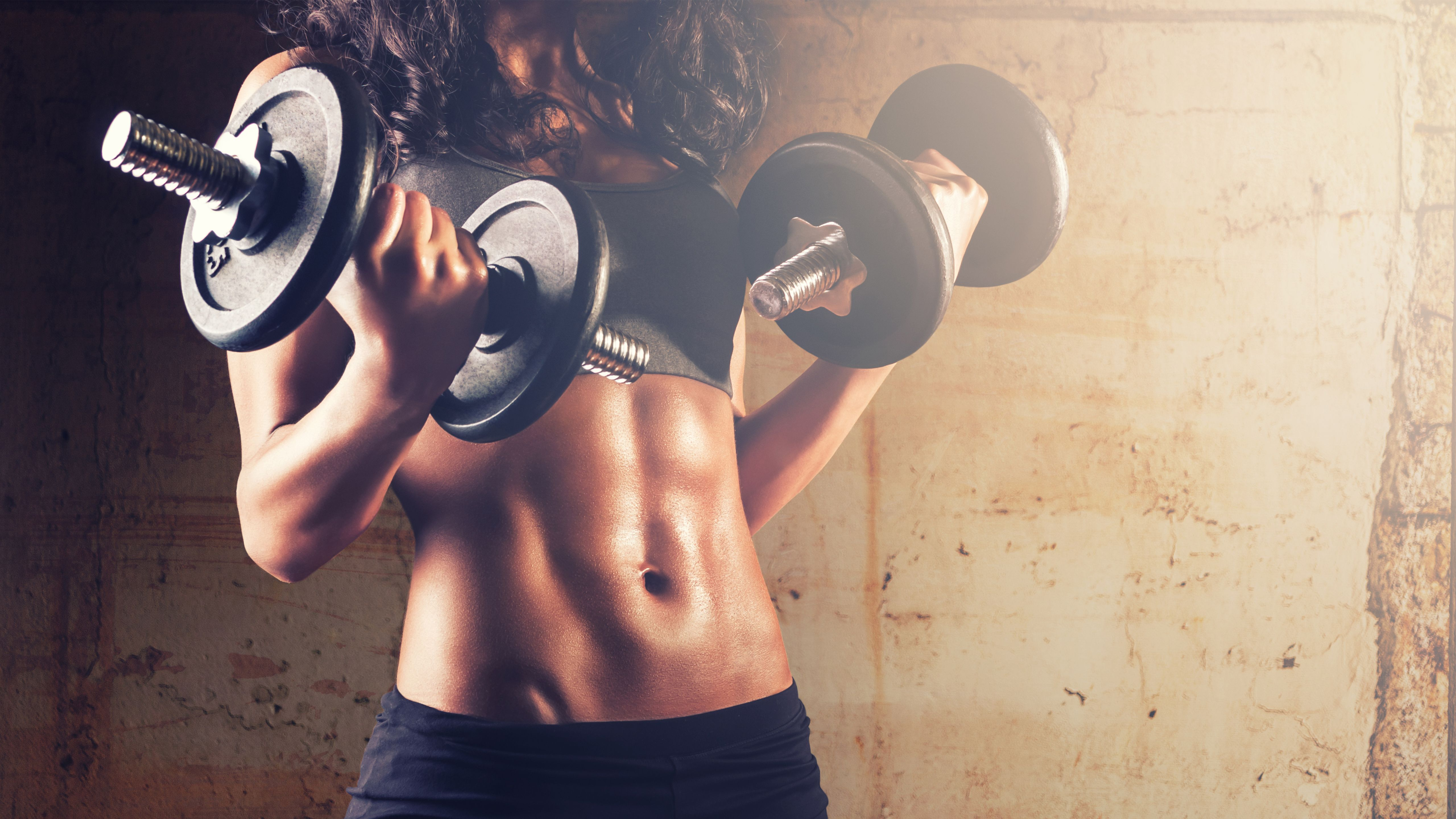 Wallpapers Dumbbells, Weights, Exercise, Fitness, Woman, Abs, 5K