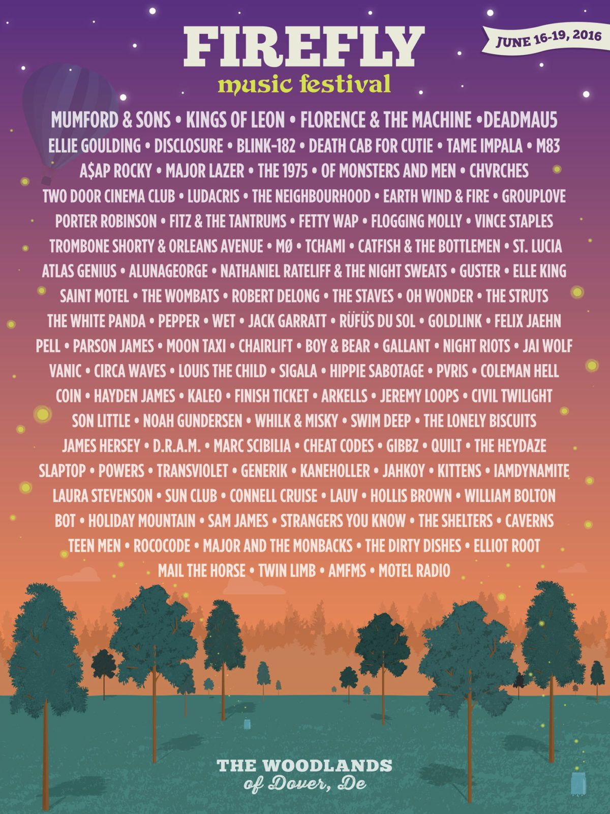 Firefly Festival Lineup Announced for 2016