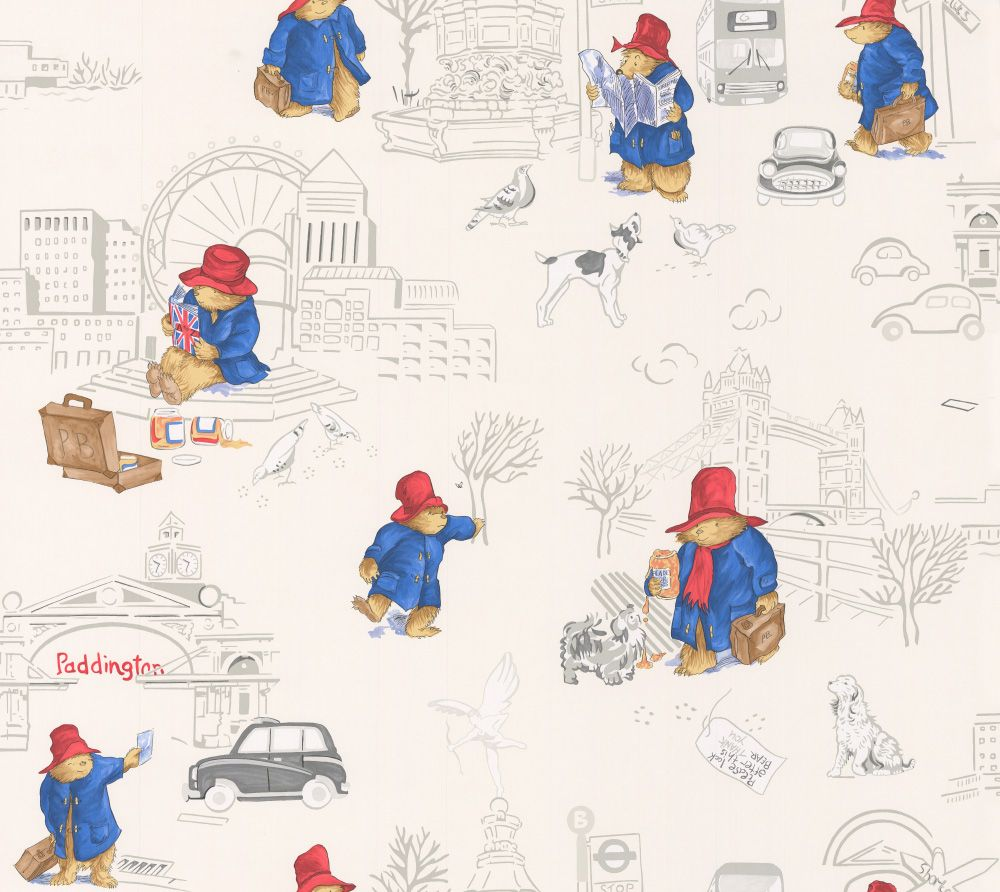 London Paddington by Jane Churchill - Red/ Blue : Wallpaper Direct