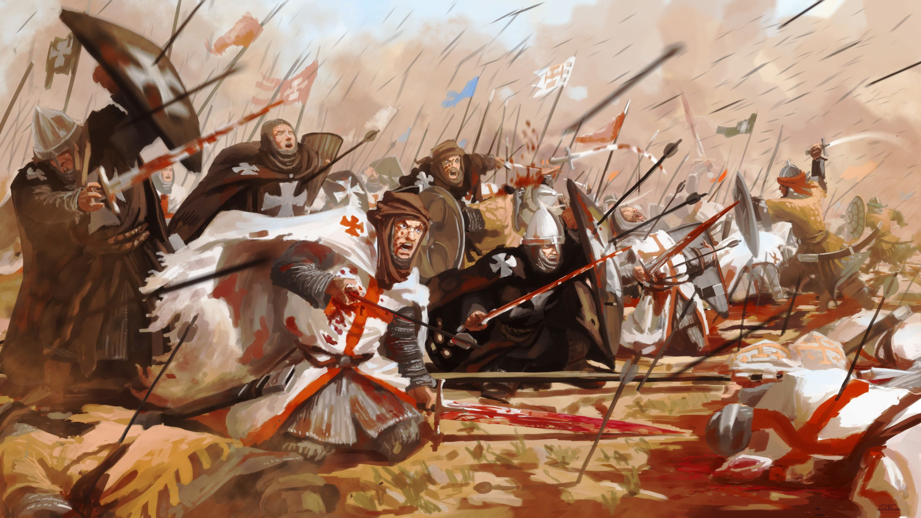 Battles Warriors Middle Ages Fantasy wallpaper | 3000x1688 | 77951 ...