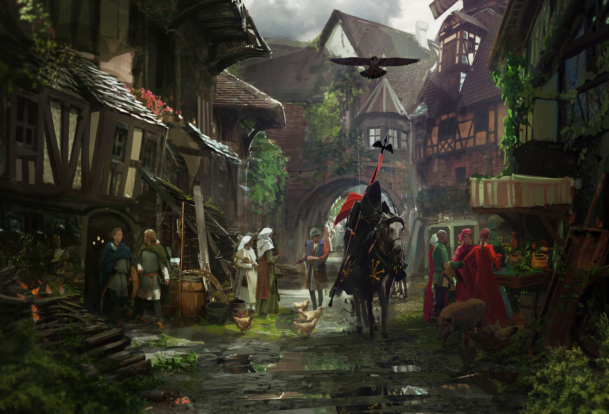 Knight Medieval town, Middle Ages Fantasy 2500x1699