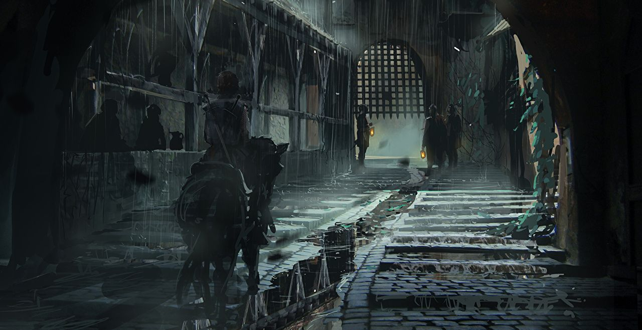 Wallpapers Horses Middle Ages Fantasy Street Night