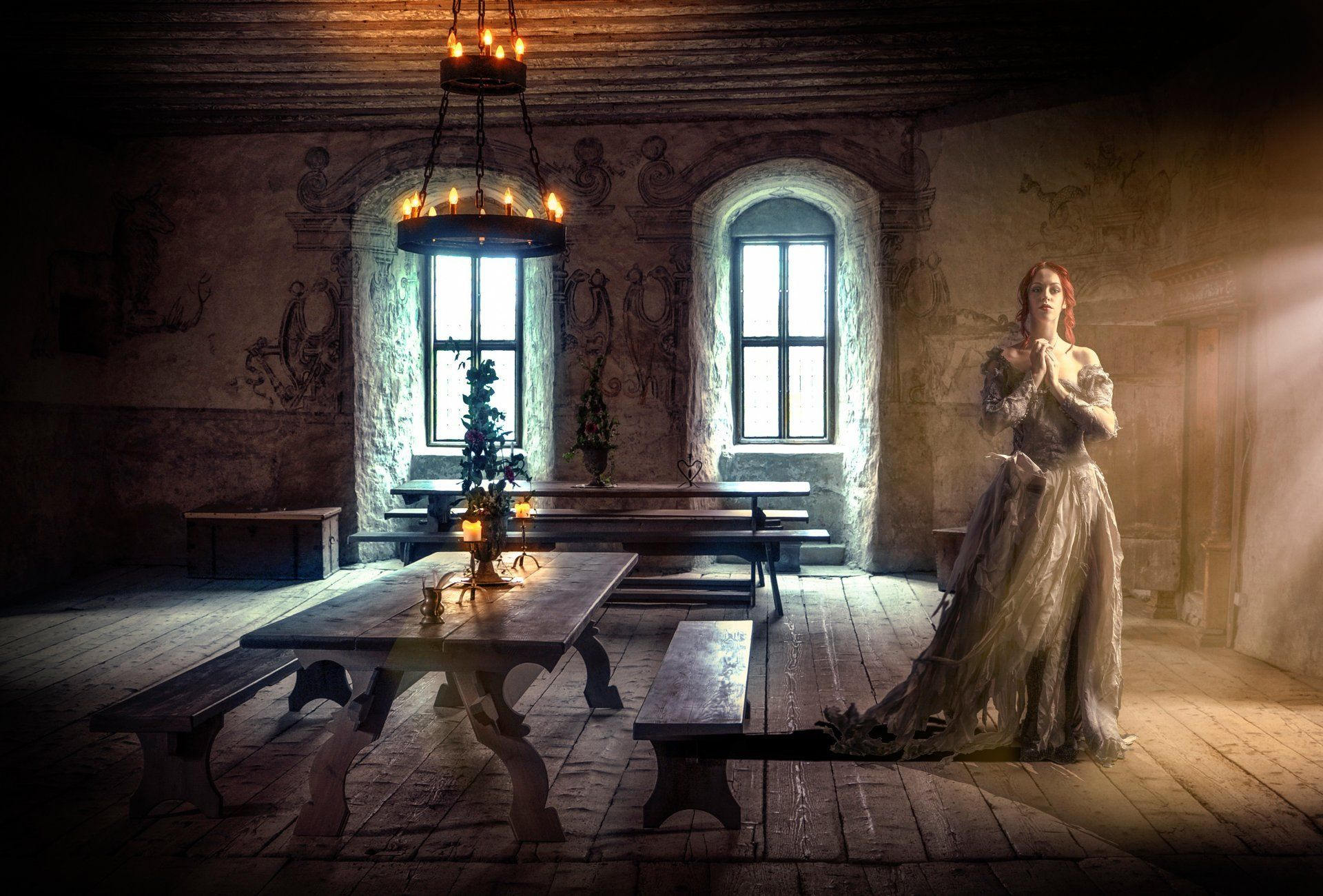 middle ages middle ages komnata.zal girl candles HD wallpaper