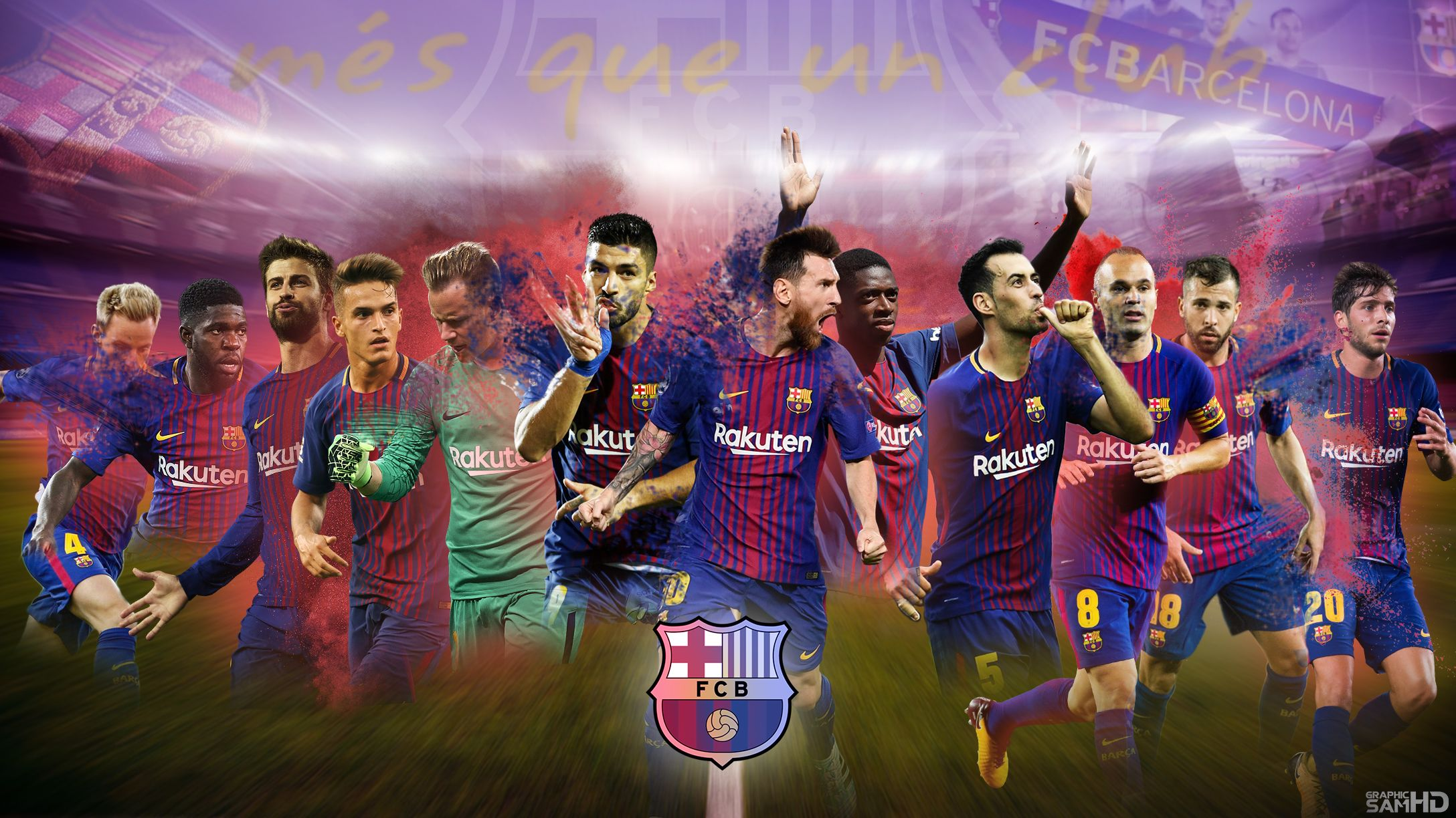 Fc Barcelona Desktop Wallpaper 2017/2018 by GraphicSamHD on DeviantArt