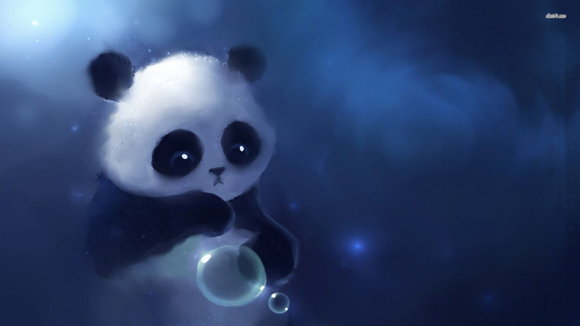 Drawn wallpaper panda - Pencil and in color drawn wallpaper panda
