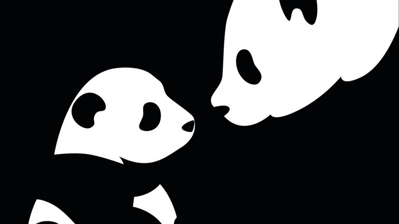 Download Wallpaper 1366x768 Panda, Drawing, Black, White laptop ...