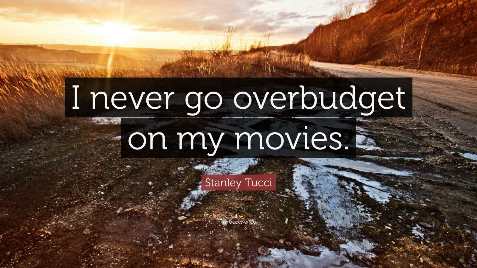 "Stanley Tucci Quote: ""I never go overbudget on my movies."" (5 ..."