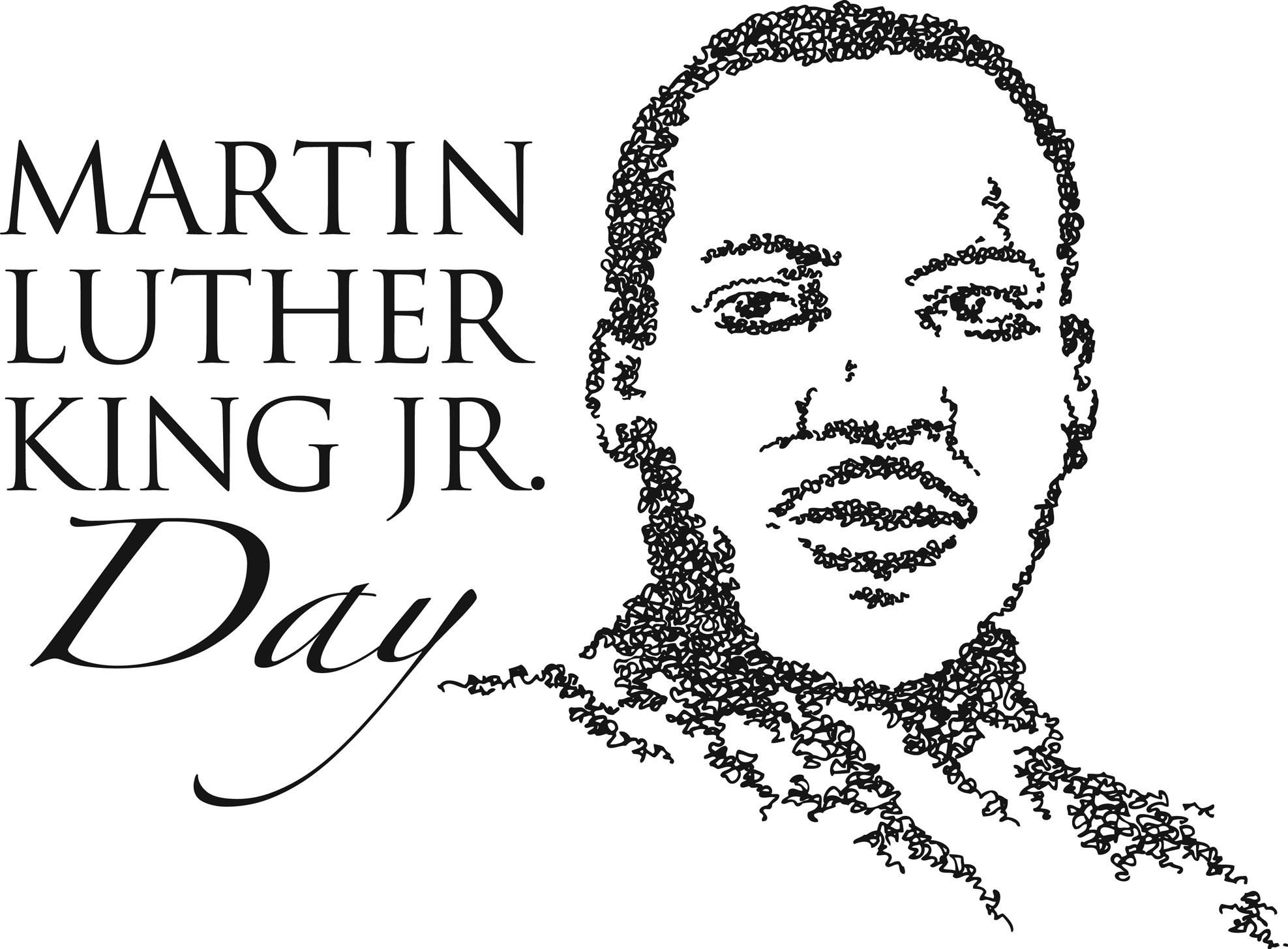 Portrait clipart mlk - Pencil and in color portrait clipart mlk