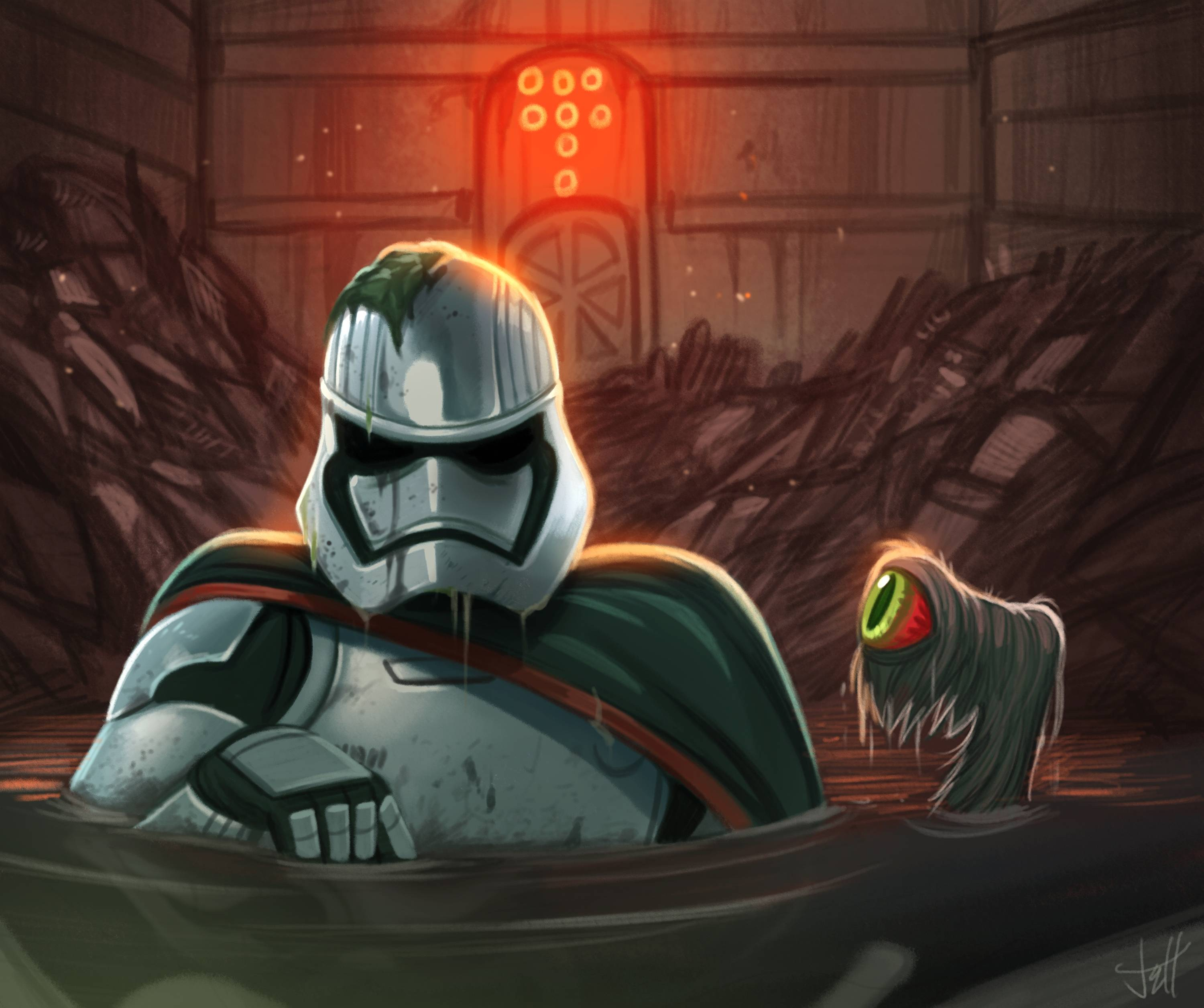 Captain Phasma trapped in the trash compactor Full HD Wallpaper ...