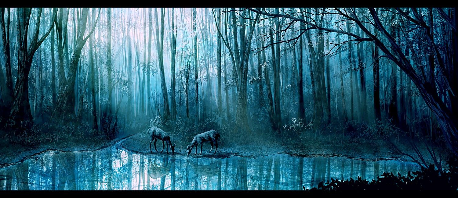 Forest: Blue Reflection Forest Lake Deer Fog Tree Wallpapers For ...