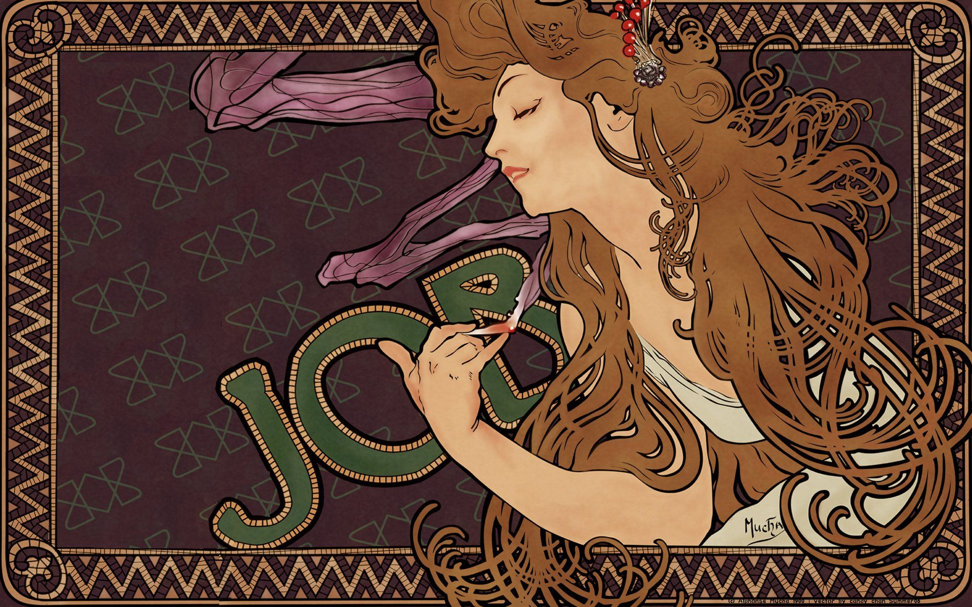 Brunettes women smoking paintings smoke Alphonse Mucha artwork job ...