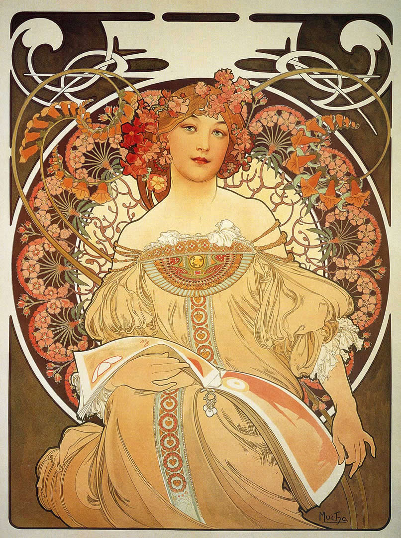 Reverie - Alphonse Mucha Wallpaper Image