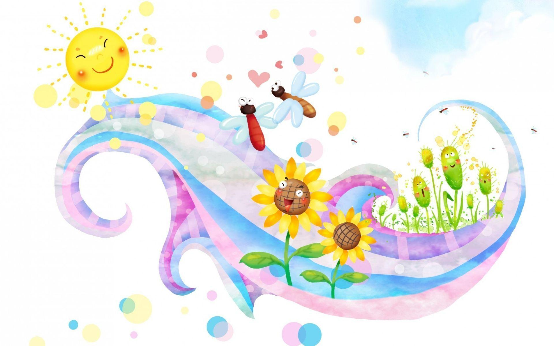 Download Wallpaper 1920x1200 children, sun, butterflies, flowers ...