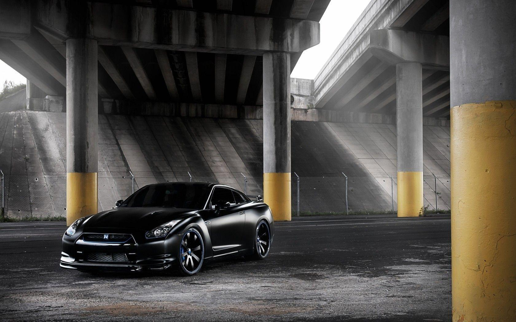 Daily Wallpaper: Flat Black Nissan GTR | I Like To Waste My Time