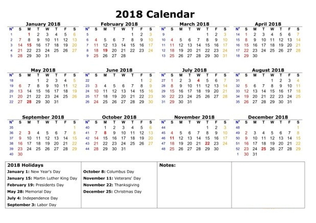 Calendar 2018 Printable With Holidays