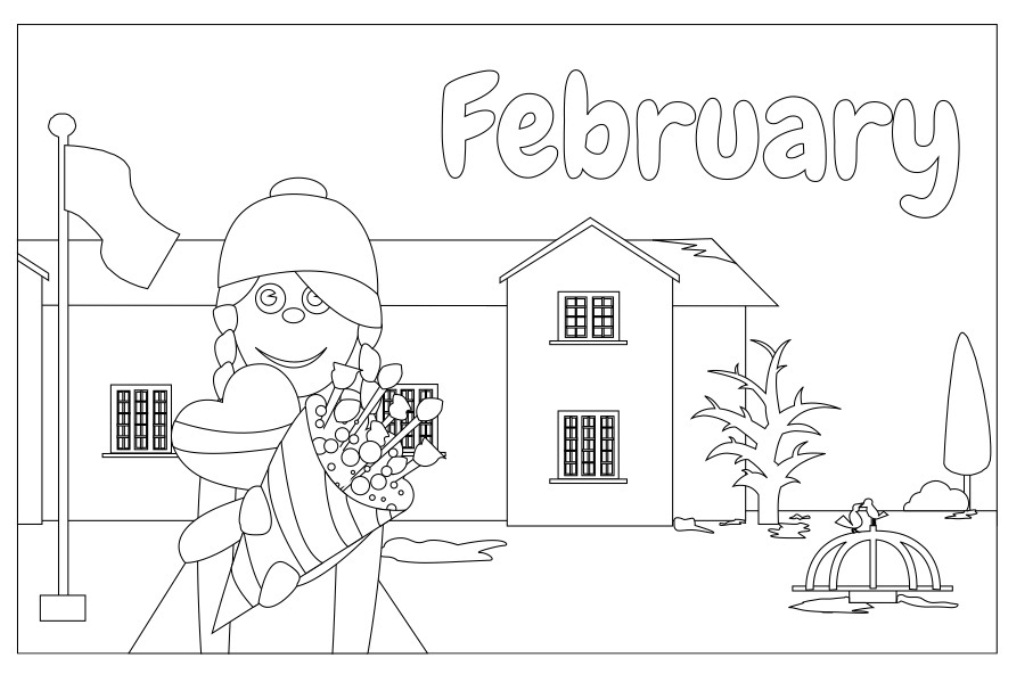 February Month Coloring Page Adults Mandala Stock Vector (Royalty ... | 682x1024