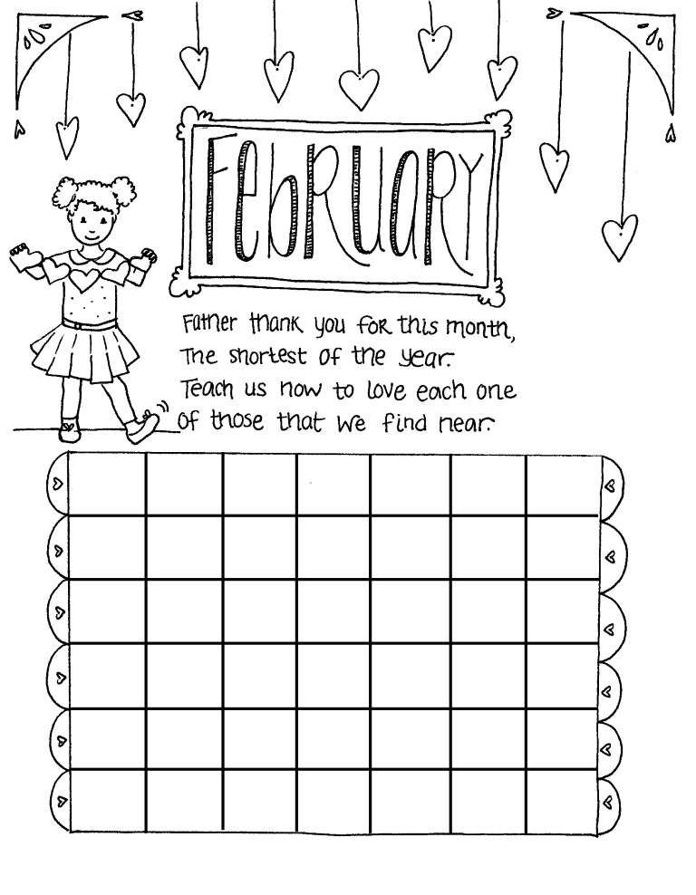 February coloring pages printable for kids greepx for Calendar coloring page