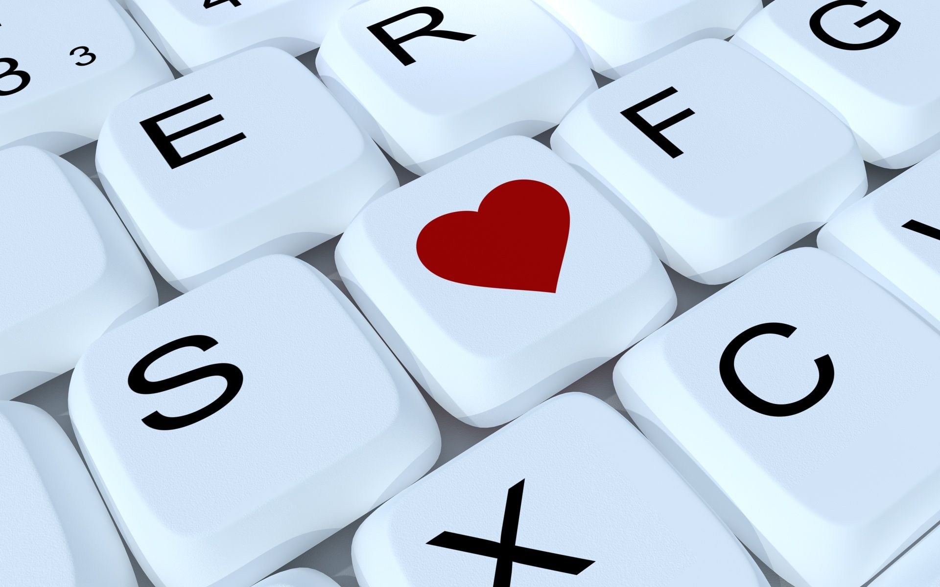 Download Wallpaper 1920x1200 Love, Keyboard, Heart, Letter ...