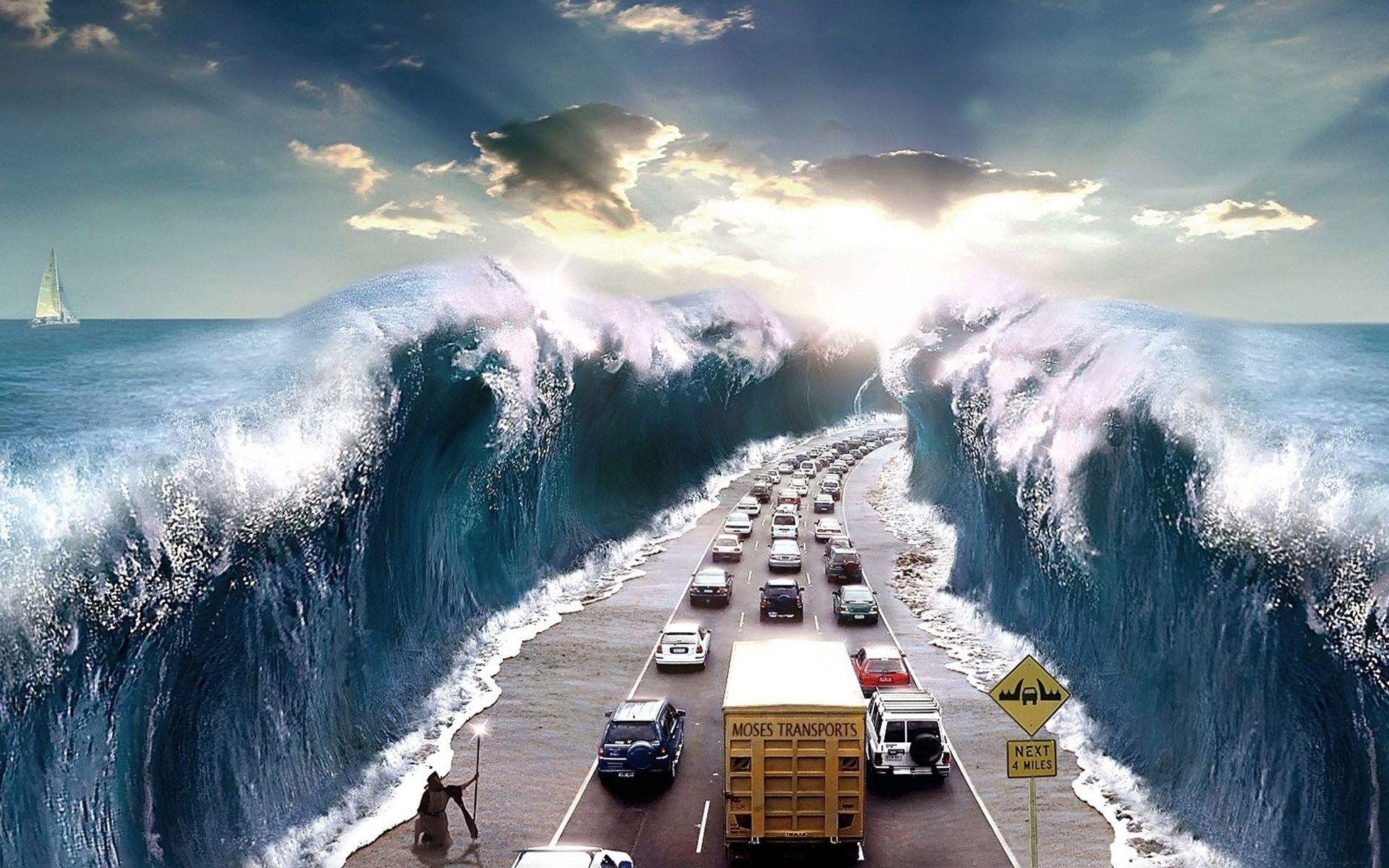 Tsunami Hitting the Highway Wallpaper and Stock Photo