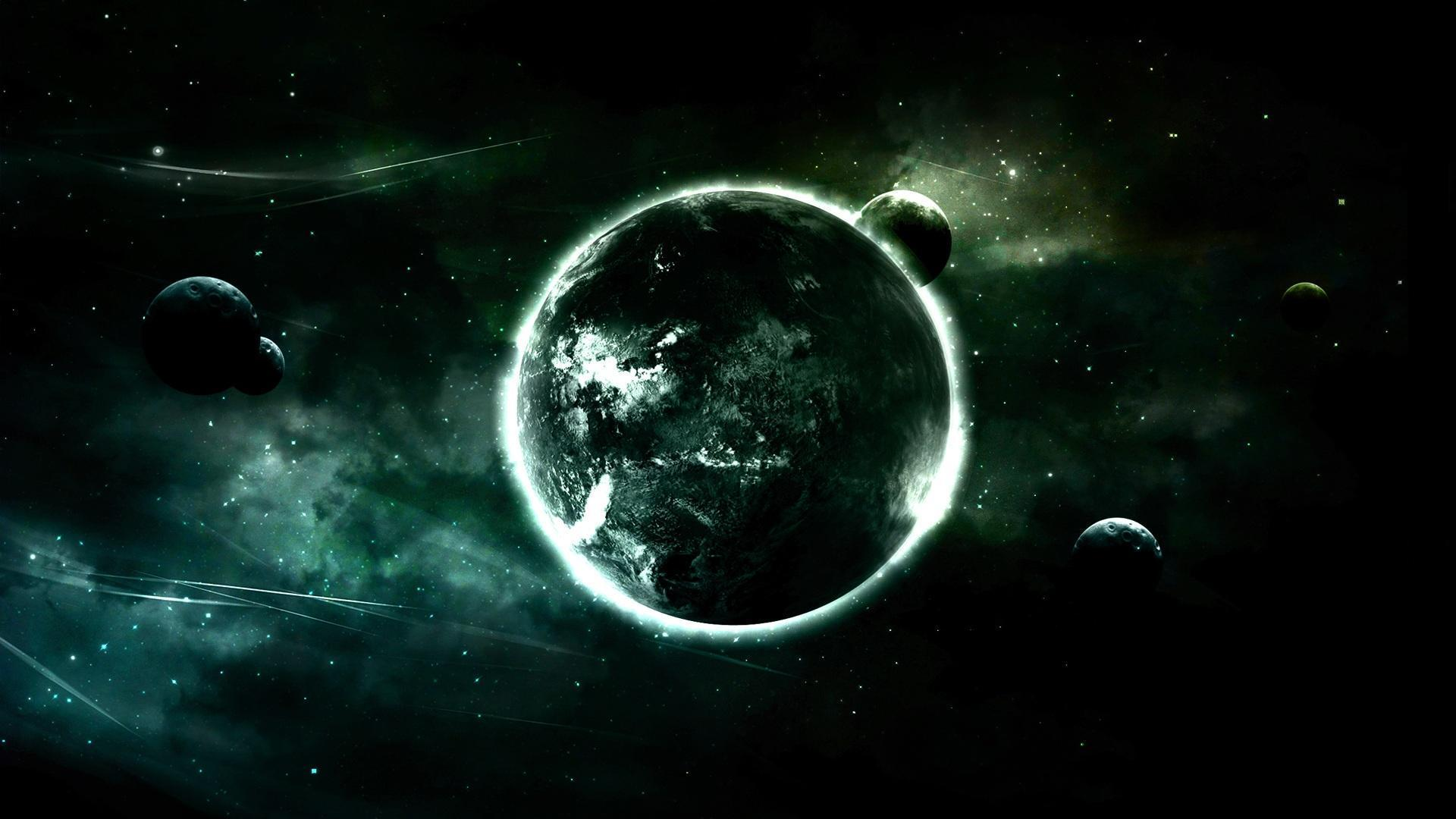 green outer space planets tone Wallpaper 1920x1080   Hot HD Wallpaper