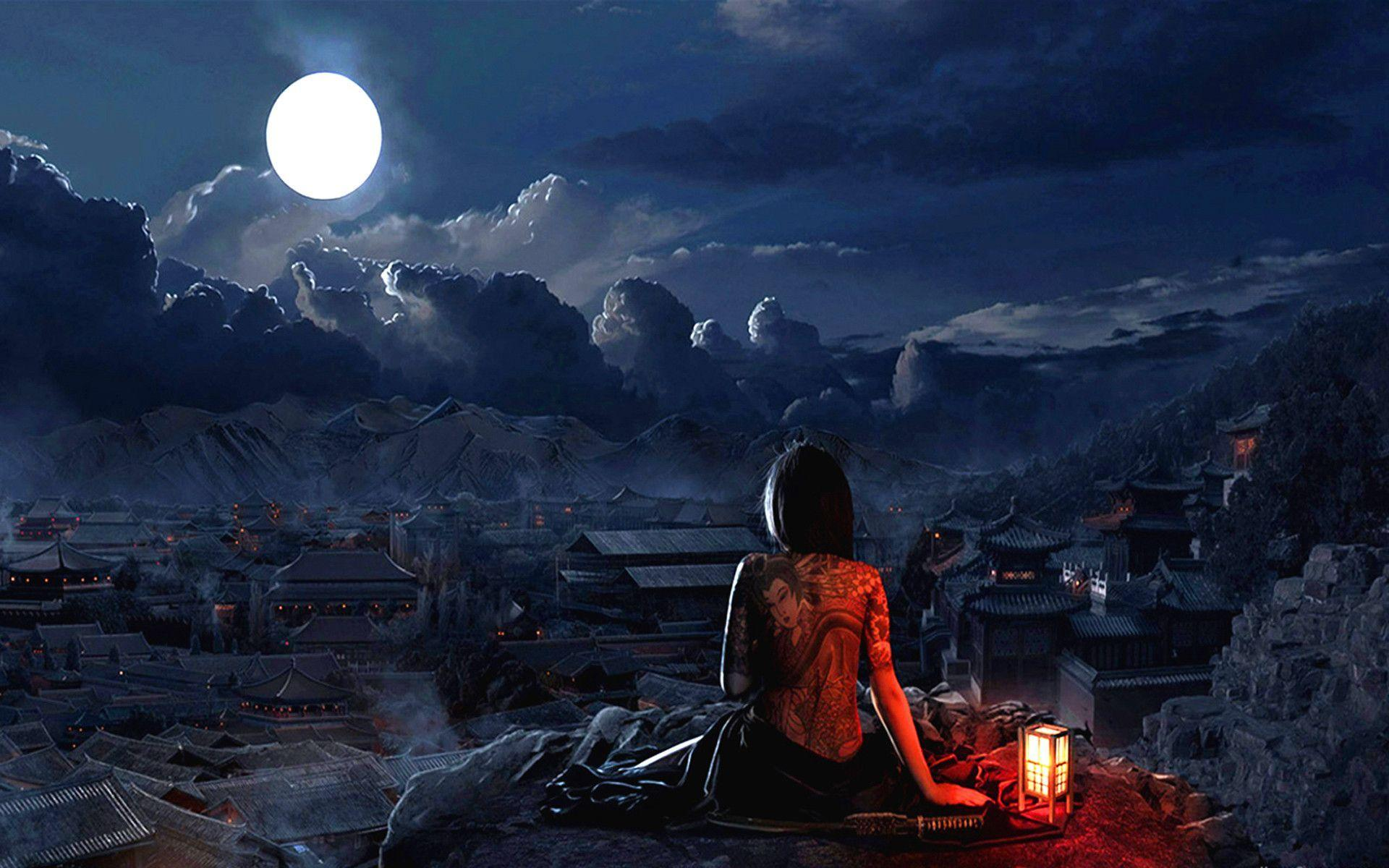 Girl With Tatto Full Moon Wallpaper #3828 Wallpaper   Wallshed.