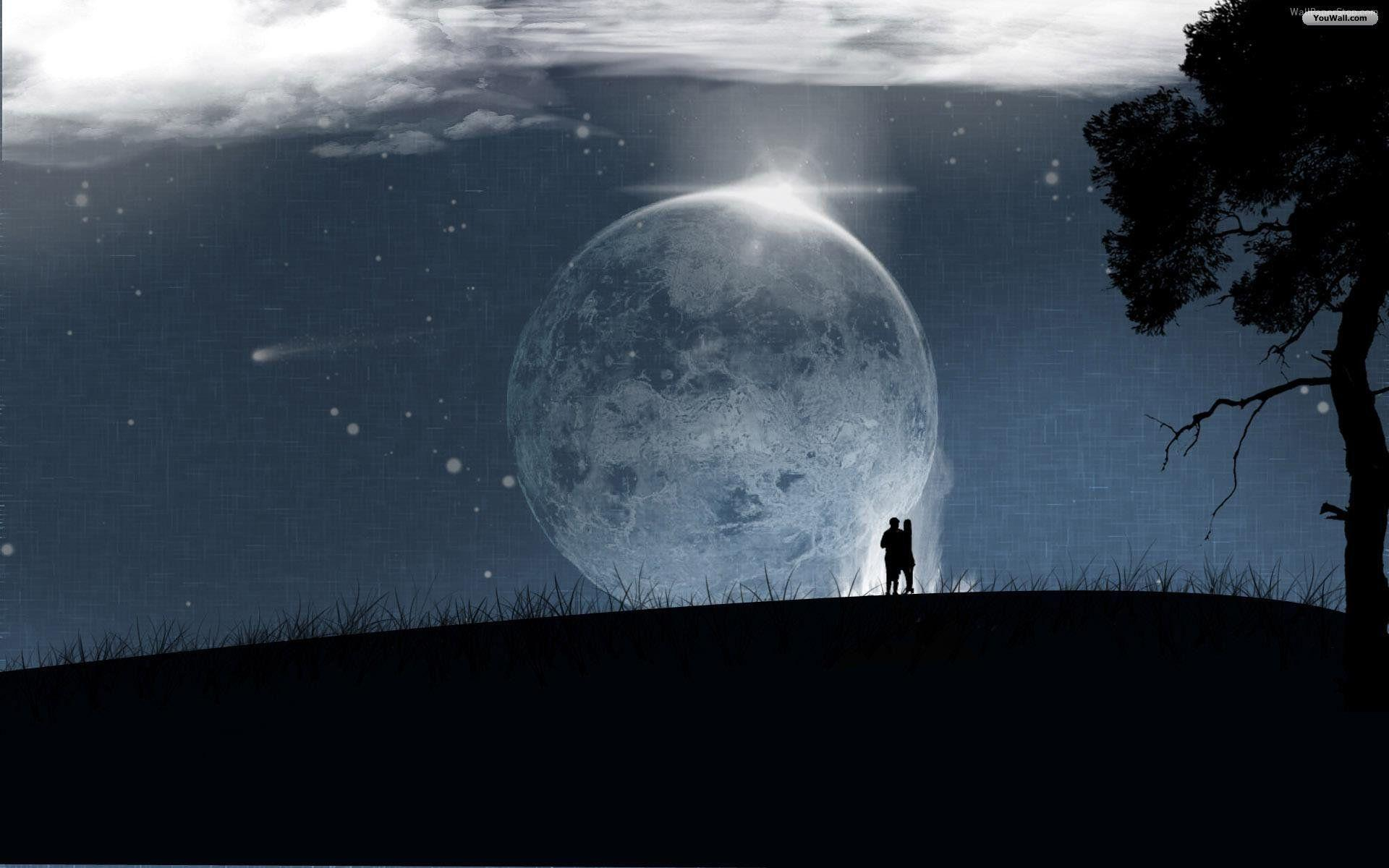 Wallpapers For > Forest Full Moon Wallpaper