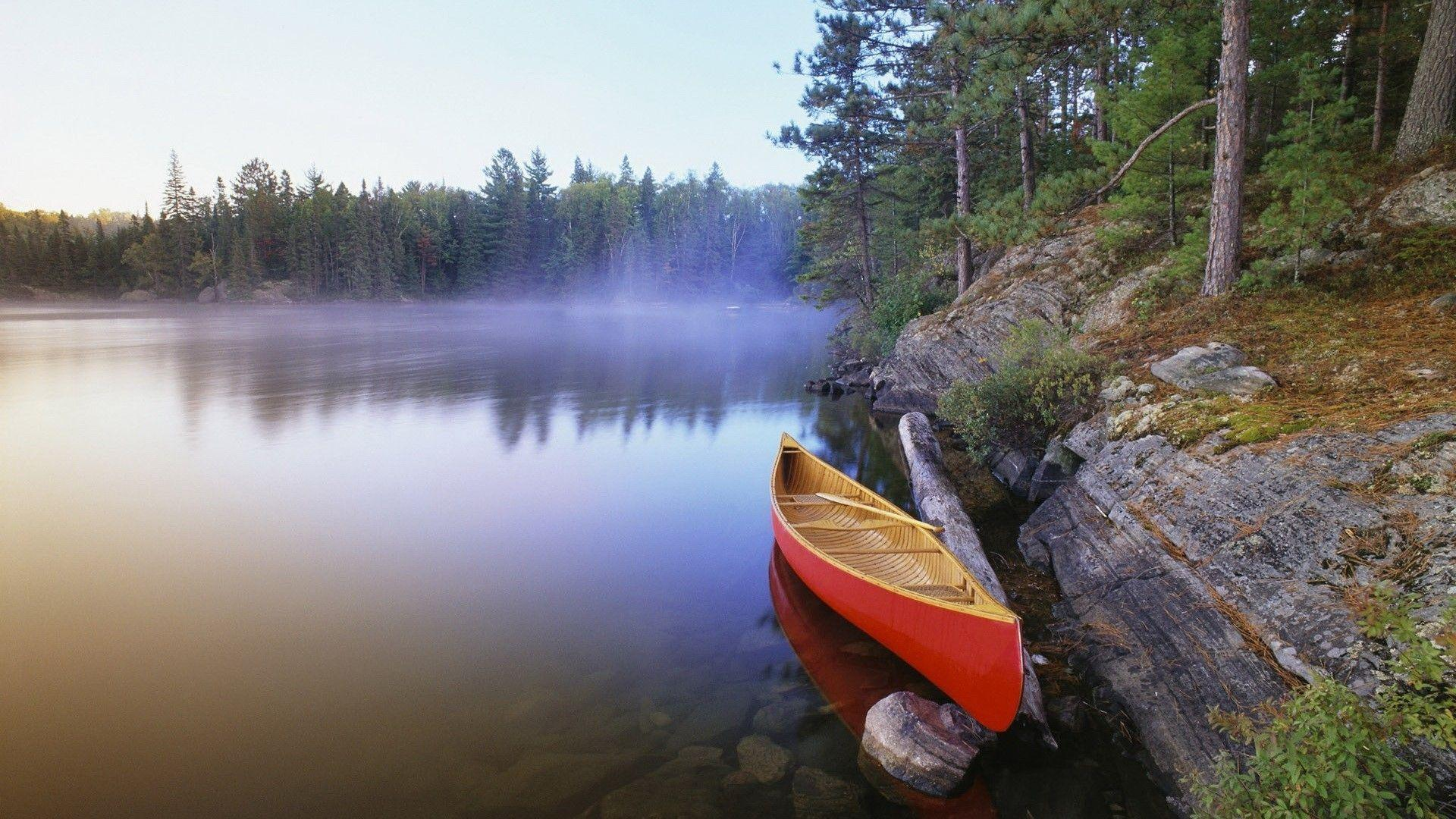 Canoe On The Morning Lake Wallpapers | HD Wallpapers