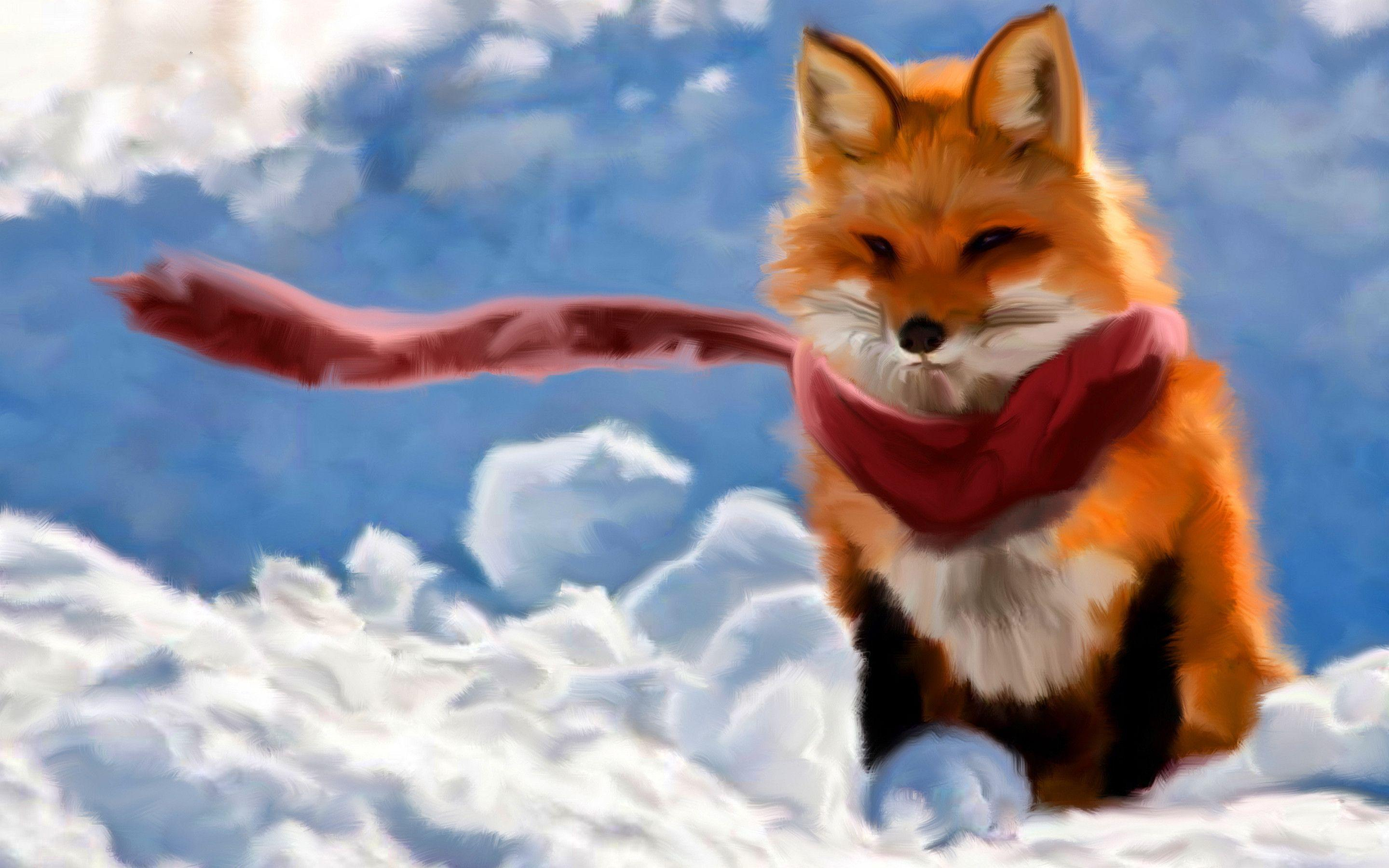 Red fox paint Wallpapers