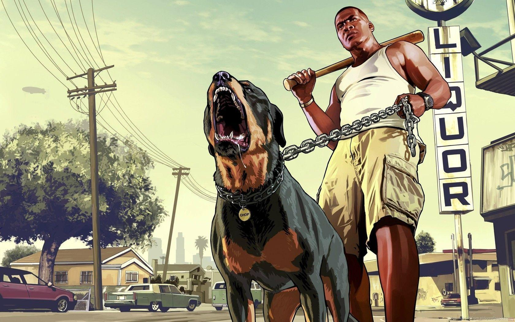 Download 1680x1050 GTA 5 Franklin With A Rottweiler Wallpaper