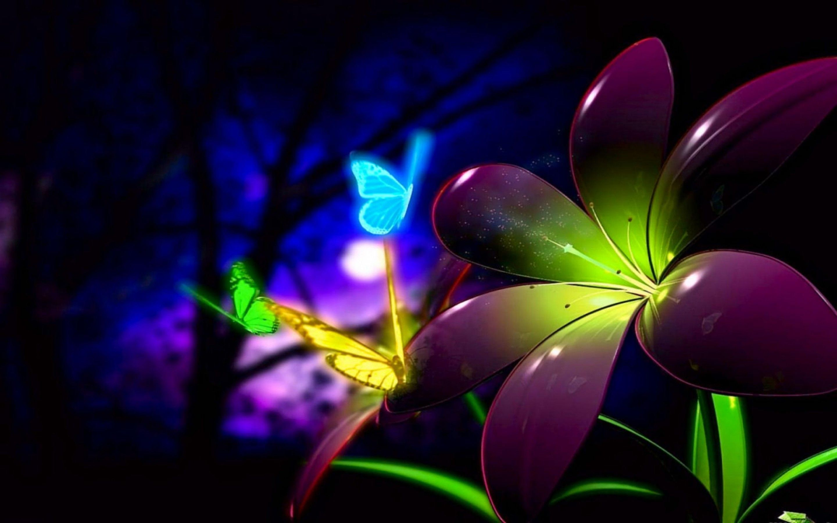 Beautiful Animated Flower And Butterfly Wal Wallpaper Backgrounds ...