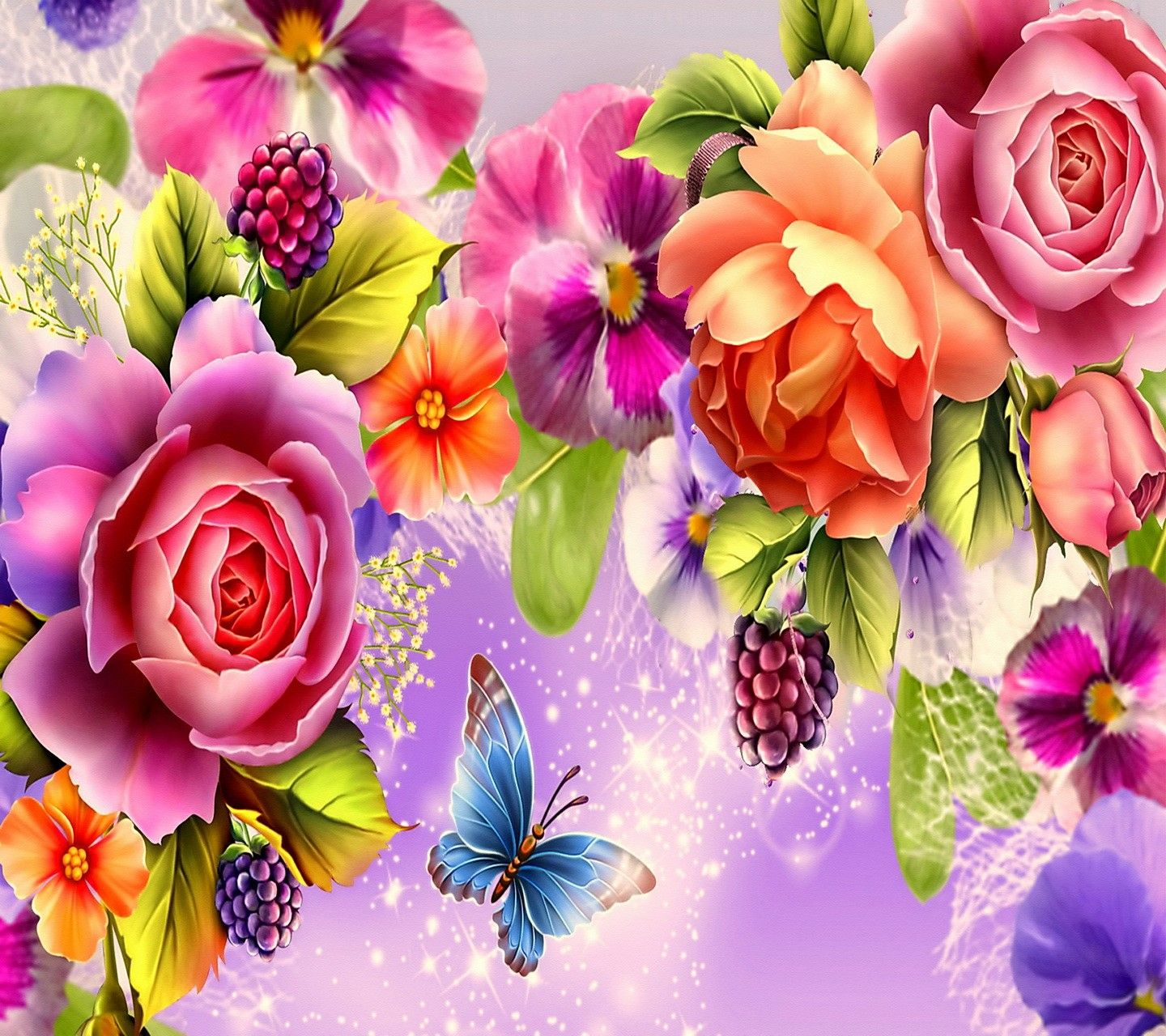 Flowers: Admiring Flower Colorful Butterfly Roses Rose Wallpapers ...