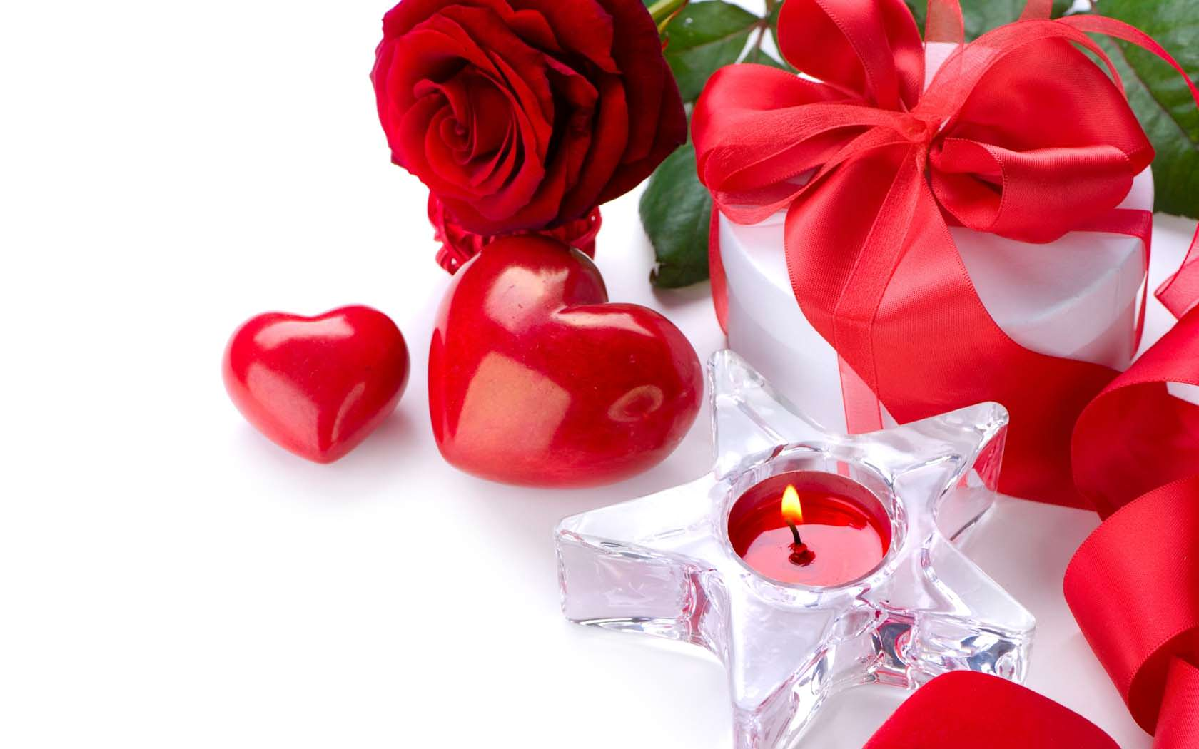 Love Rose Flower Ribbon Gift Candle Heart Romance 1680x1050 - Cool ...