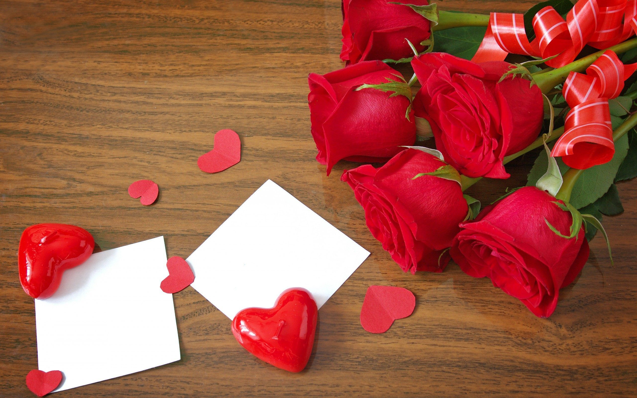 Red Heart and Red Roses Love Wallpapers   HD Desktop Background