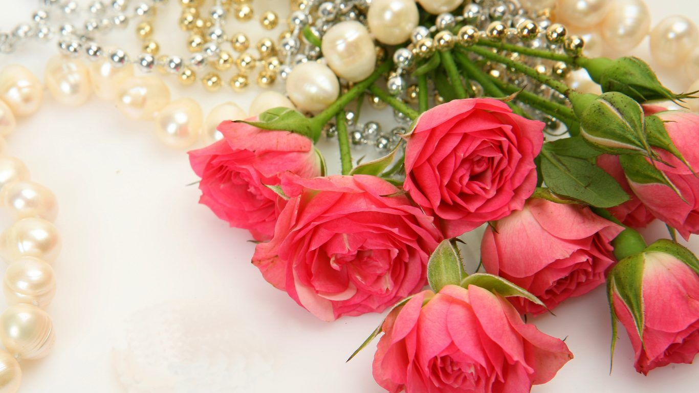 Flowers: Love Flowers Roses Petals Nature Pearls Bouquet Rose ...