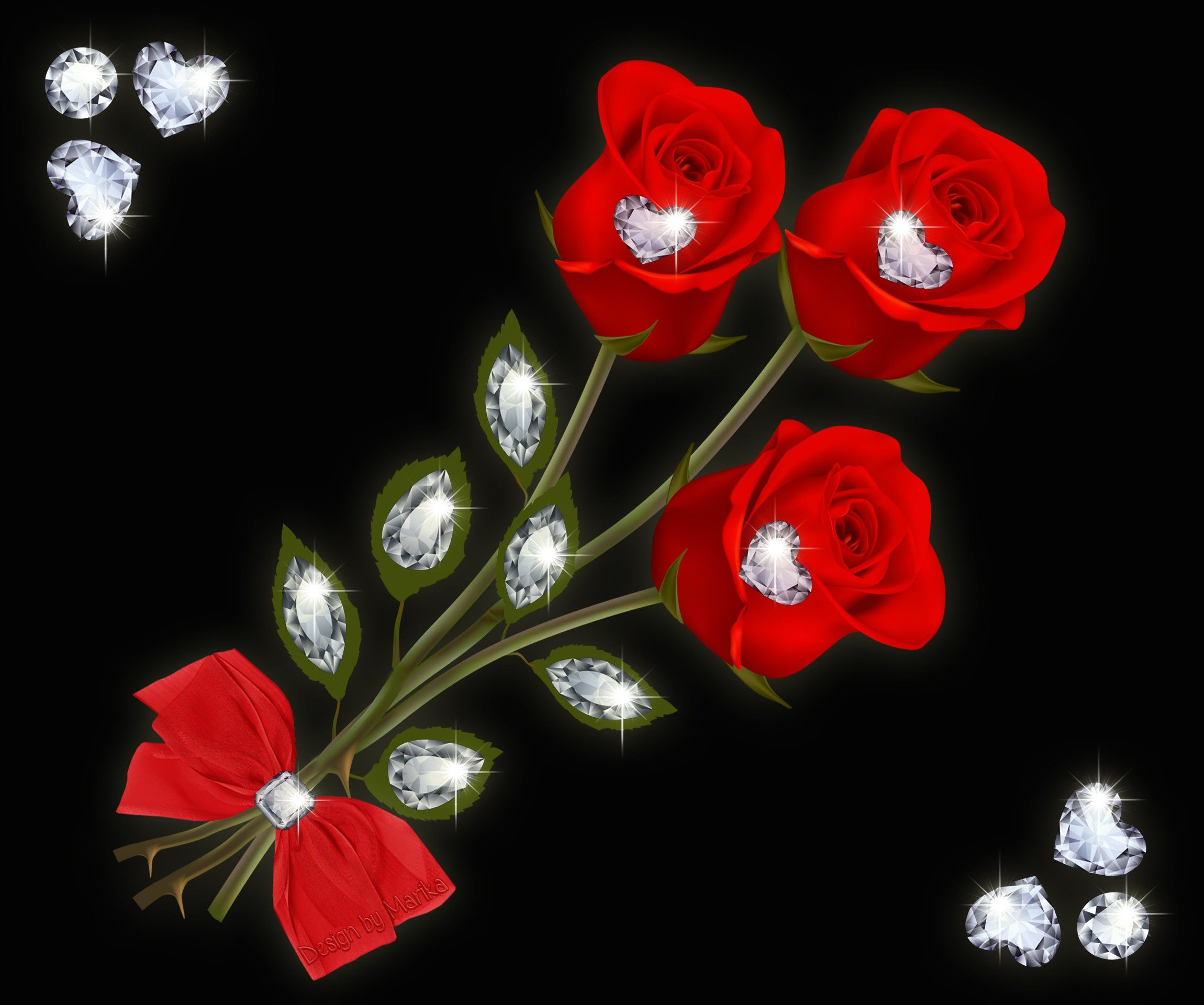 Flowers: Flowers Diamonds Red Jem Design Roses Bow Floral Hearts ...
