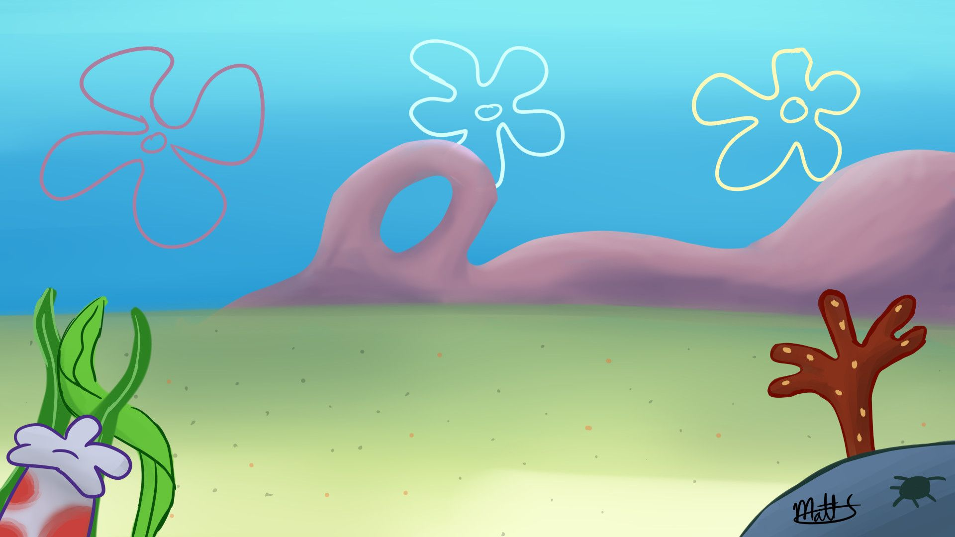 Spongebob Flower Sky Background ·①