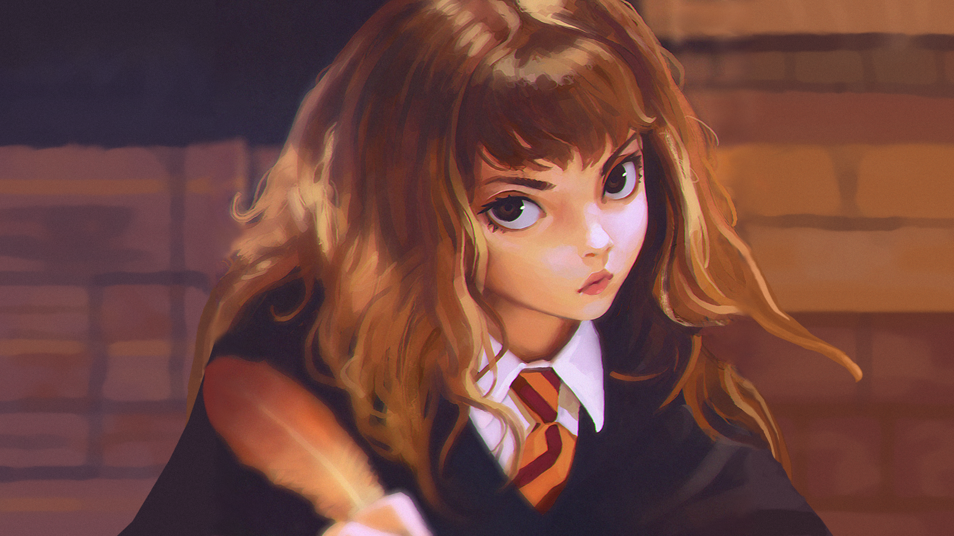 Download 1920x1080 Hermione Granger, Anime Style, Harry Potter