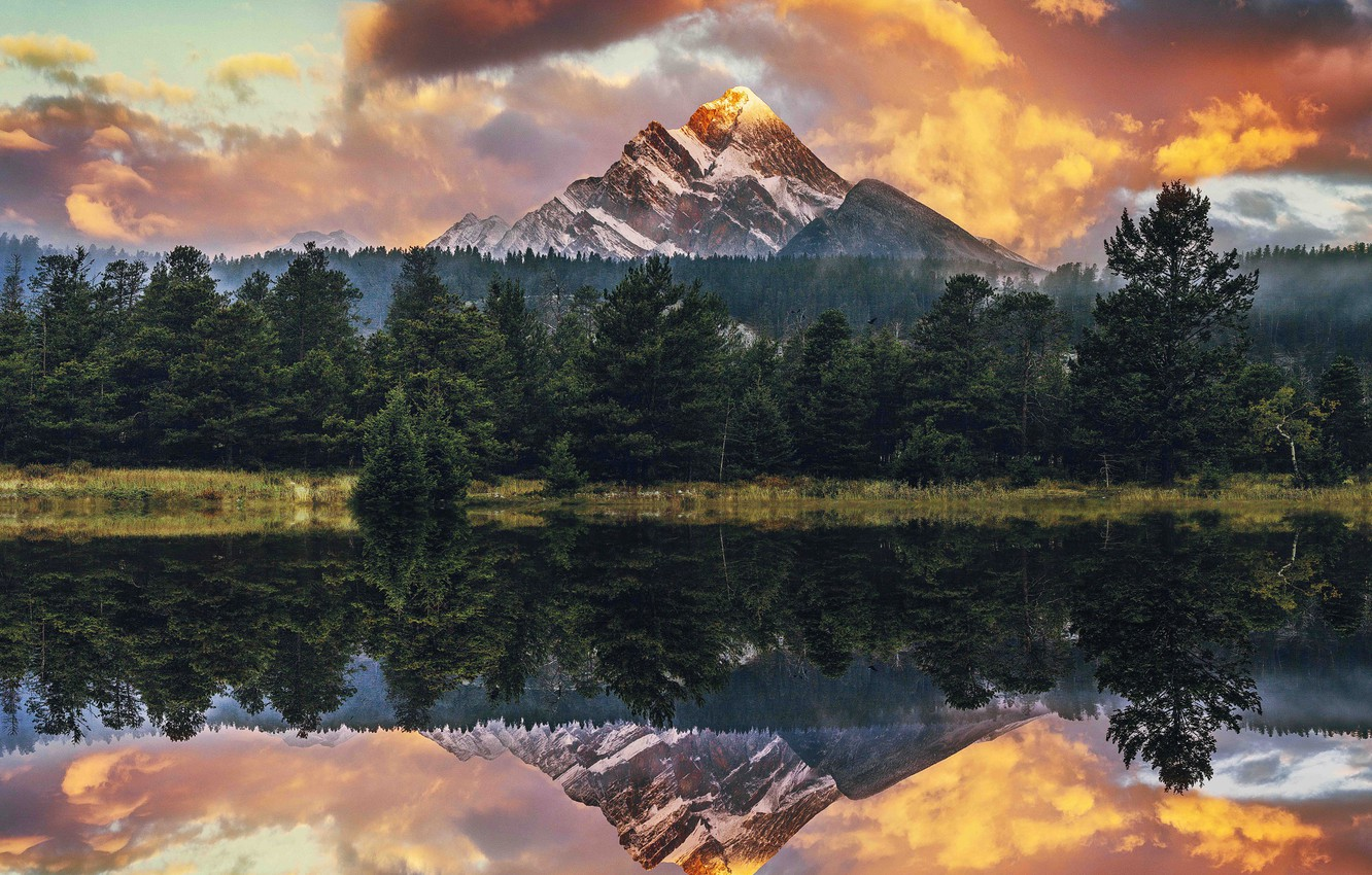 Wallpapers forest, hdr, USA, usa, mountain lake, sunset in the
