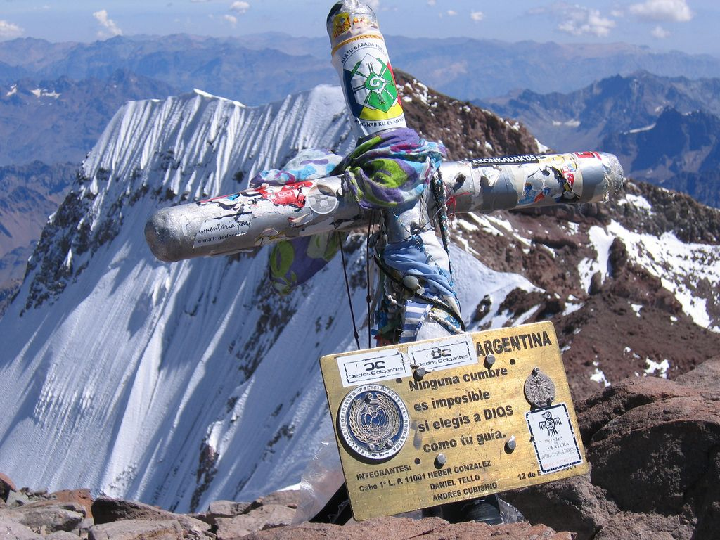 Summit Cross The summit cross on Aconcagua. South face of the