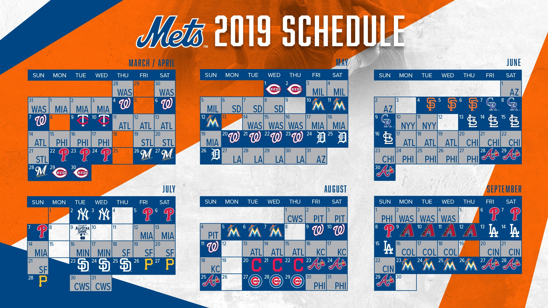 Mets' 2019 schedule includes road, home openers against Nationals