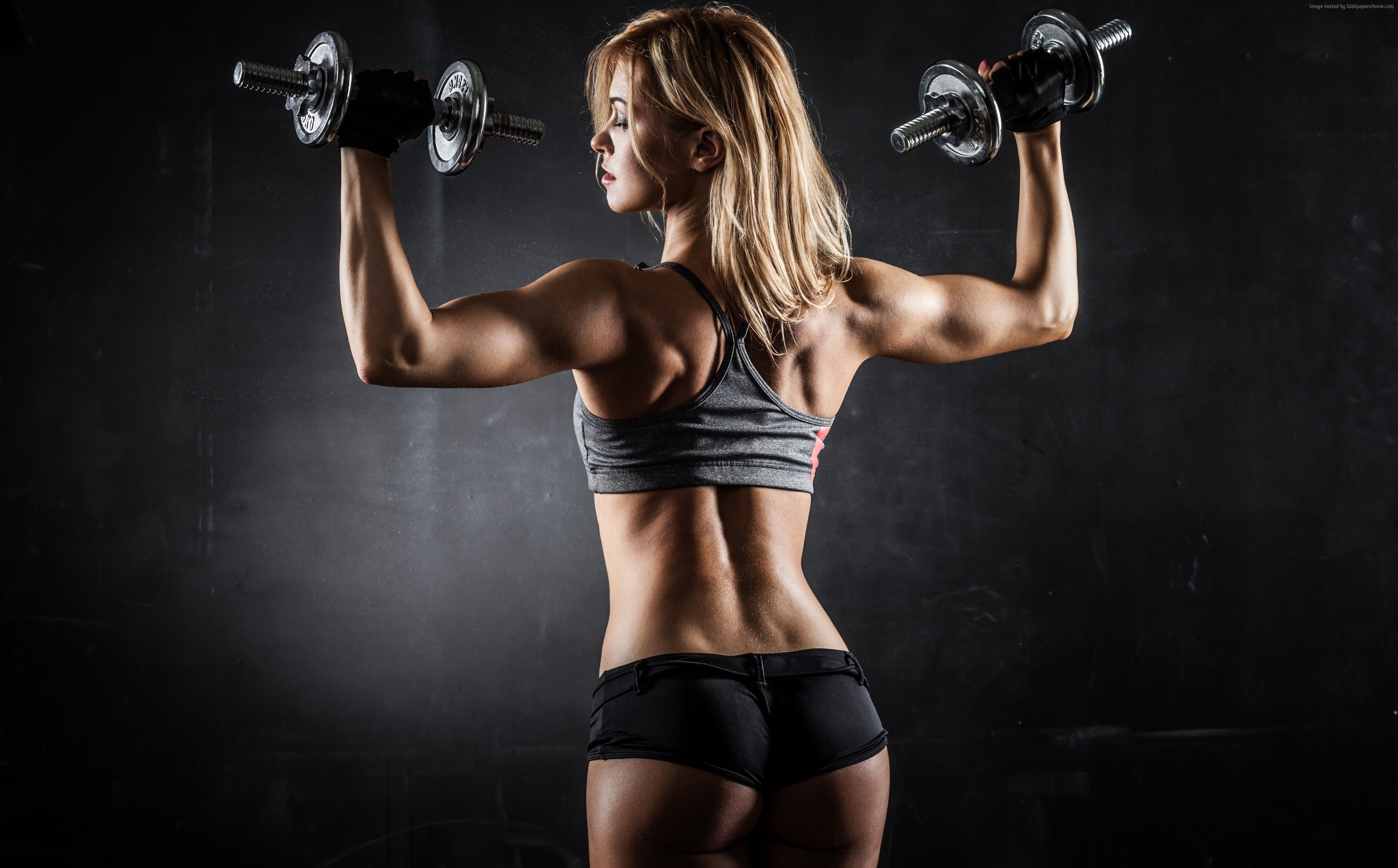 Wallpapers Girl, fitness, exercise, gym, dumbbells, workout