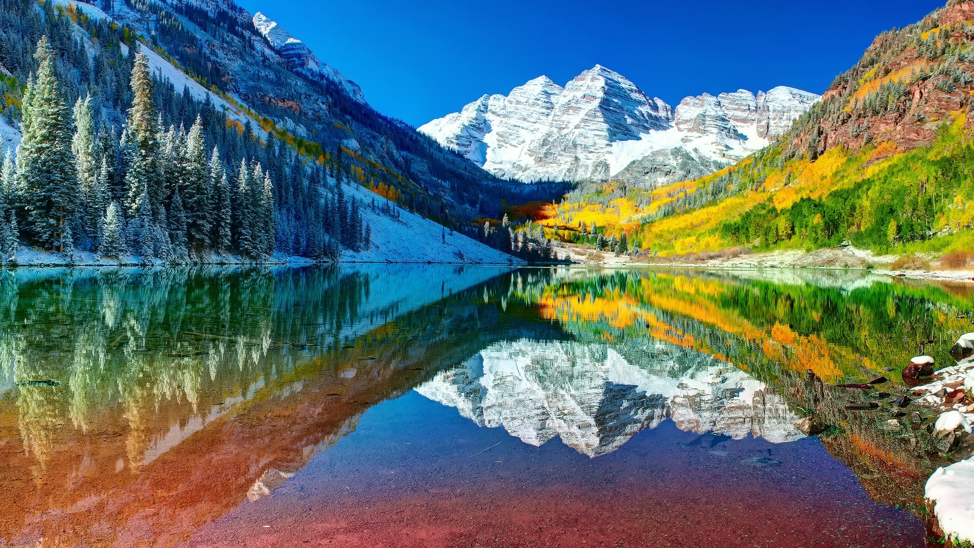 colors, snow, USA, autumn, reflection, trees, fall :: Wallpapers