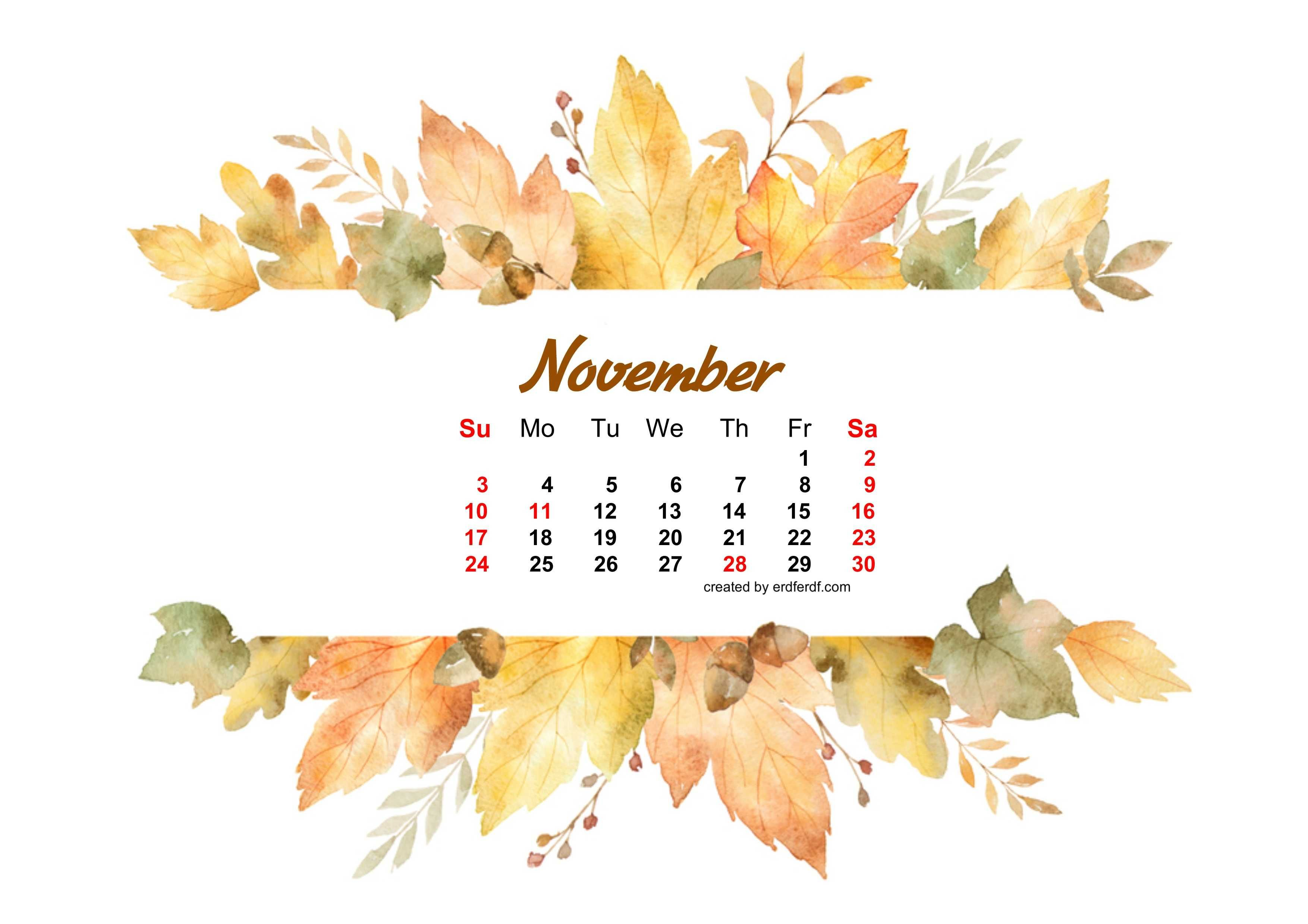 Watercolor Leaf Dried November 2019 Calendar Picture Wallpapers
