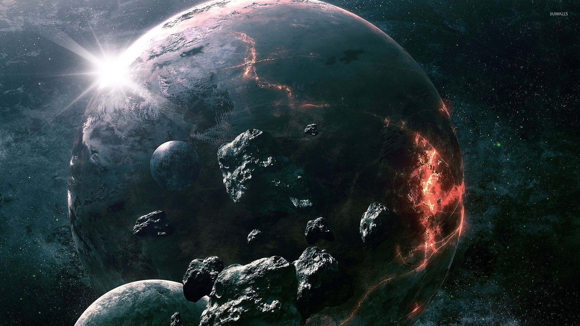 Meteorite circling the imploding planet wallpapers