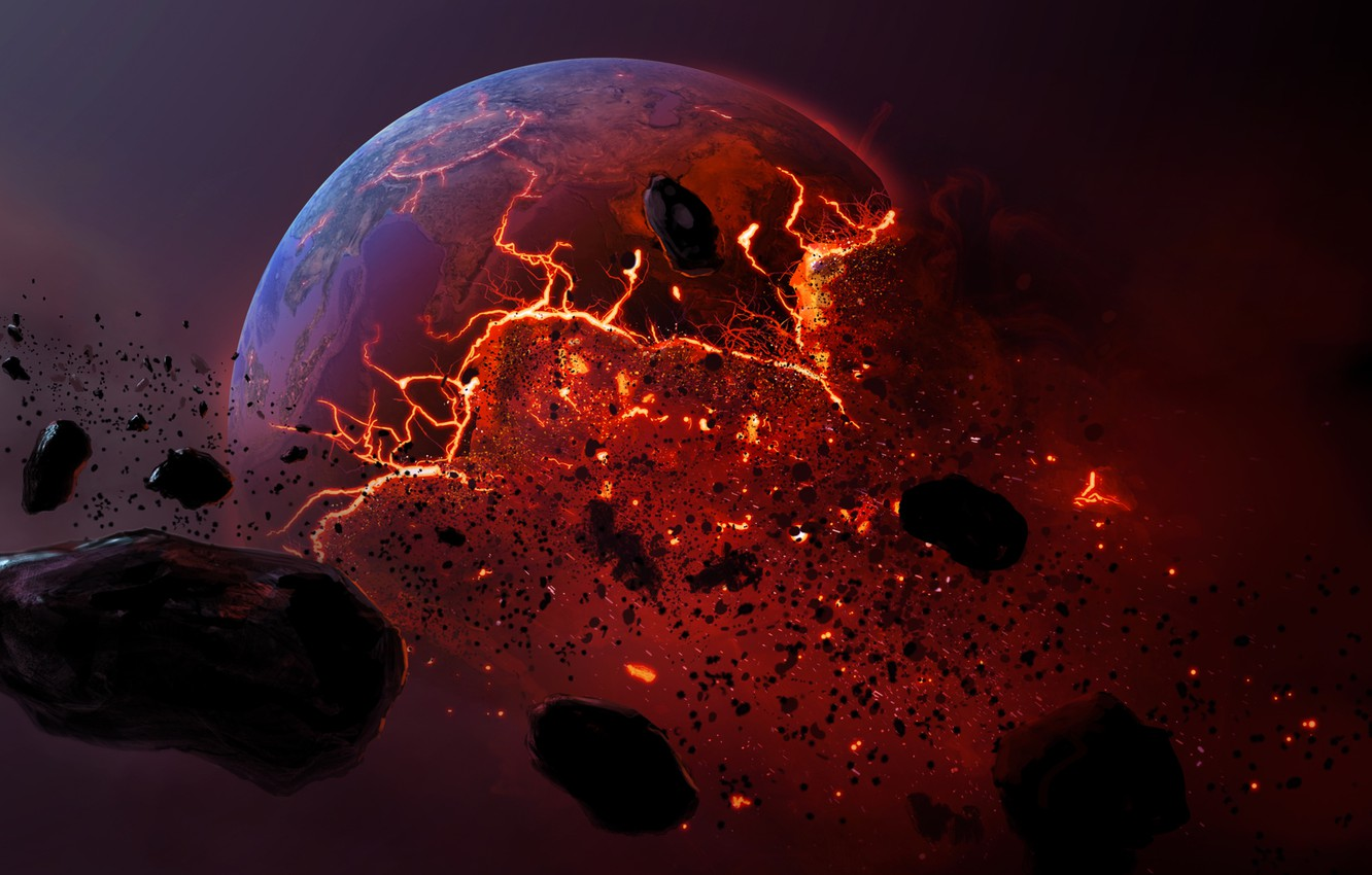 Wallpapers meteorite, planet, dead planet, burning earth image for